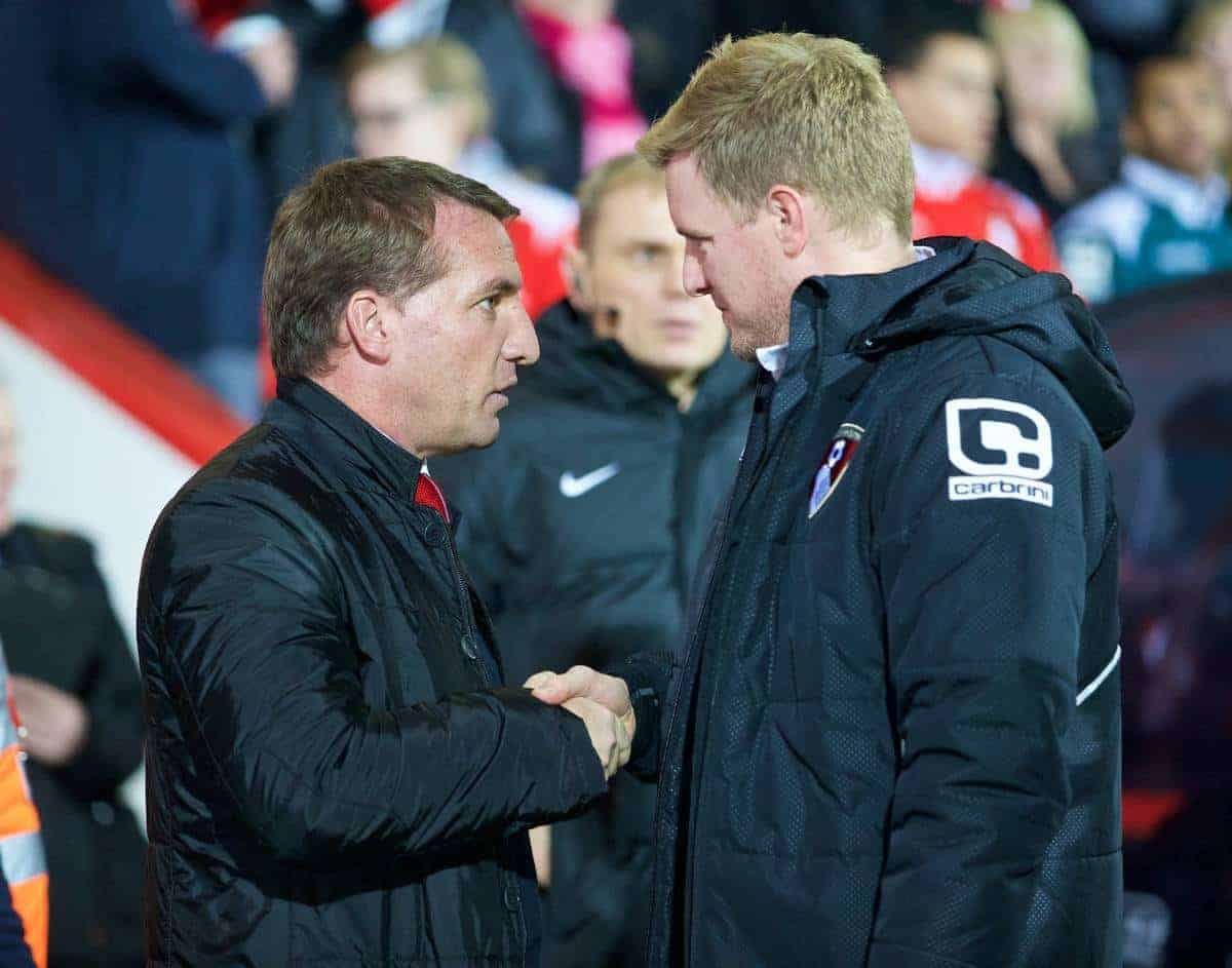 BOURNEMOUTH, ENGLAND - Wednesday, December 17, 2014: Liverpool's manager Brendan Rodgers and Bournemouth's manager Eddie Howe during the Football League Cup 5th Round match at Dean Court. (Pic by David Rawcliffe/Propaganda)