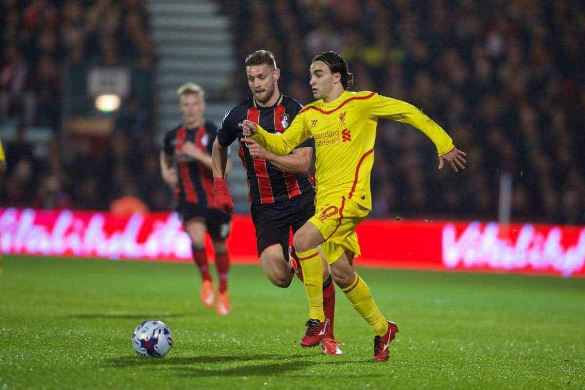 BOURNEMOUTH, ENGLAND - Wednesday, December 17, 2014: Liverpool's Lazar Markovic in action against Bournemouth during the Football League Cup 5th Round match at Dean Court. (Pic by David Rawcliffe/Propaganda)