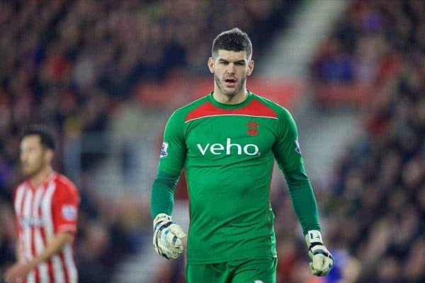 SOUTHAMPTON, ENGLAND - Saturday, December 20, 2014: Southampton's goalkeeper Fraser Forster in action against Everton during the FA Premier League match at St Mary's Stadium. (Pic by David Rawcliffe/Propaganda)
