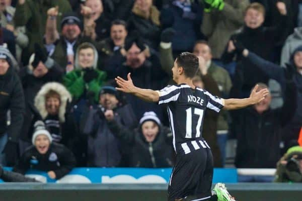 NEWCASTLE-UPON-TYNE, ENGLAND - Sunday, December 28, 2014: Newcastle United's Ayoze Perez celebrates scoring the second goal against Everton during the Premier League match at St. James' Park. (Pic by David Rawcliffe/Propaganda)