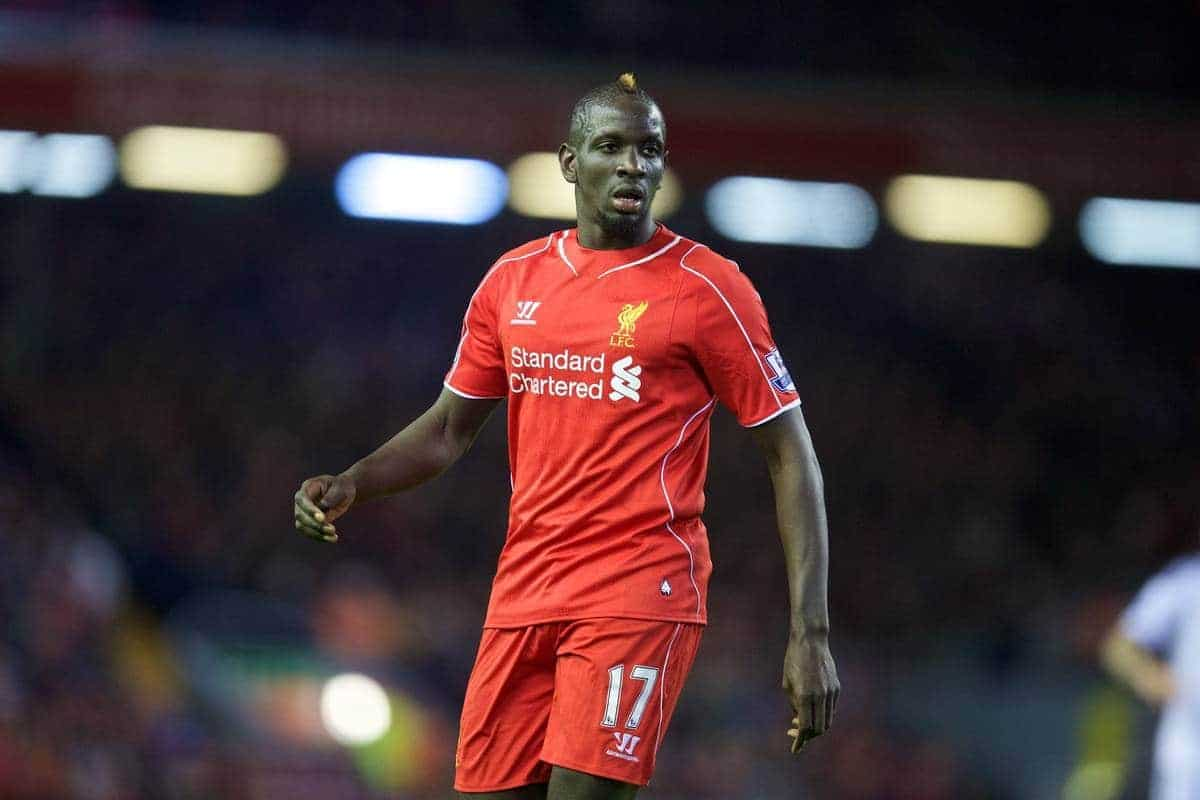LIVERPOOL, ENGLAND - Monday, December 29, 2014: Liverpool's Mamadou Sakho in action against Swansea City during the Premier League match at Anfield. (Pic by David Rawcliffe/Propaganda)