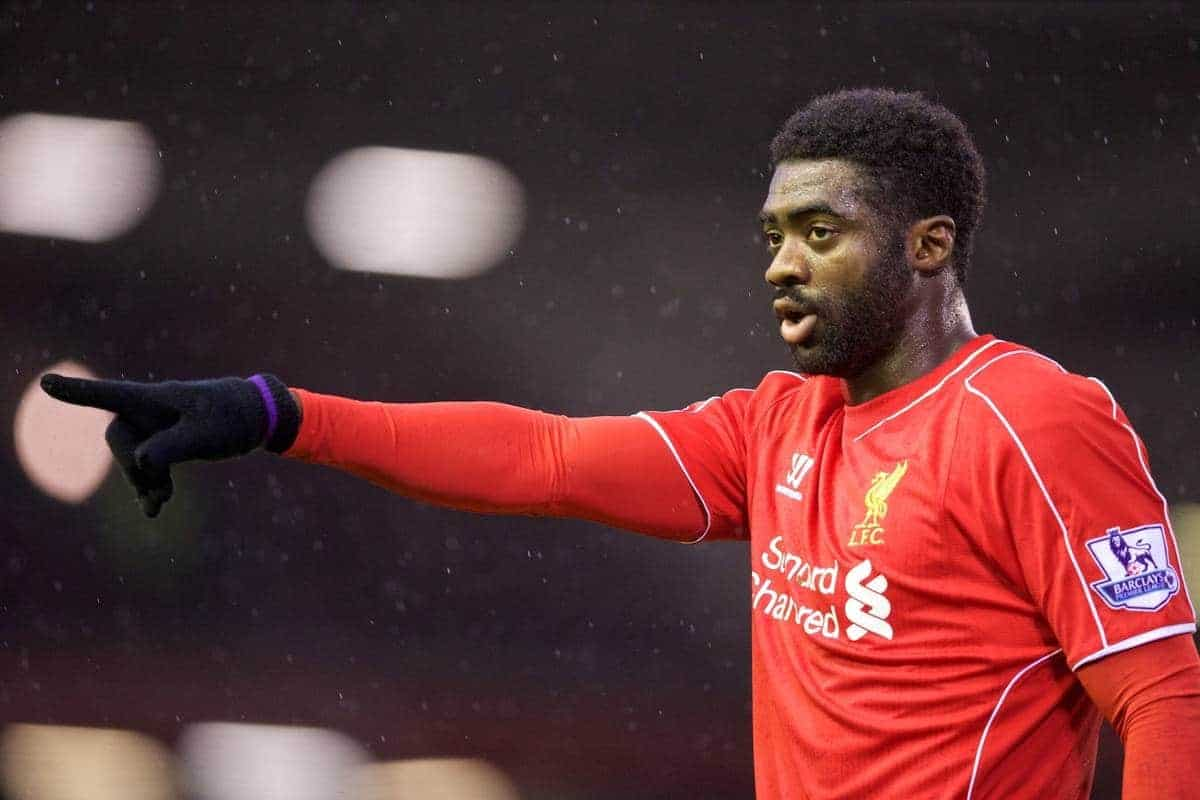 LIVERPOOL, ENGLAND - Thursday, New Year's Day, January 1, 2015: Liverpool's Kolo Toure in action against Leicester City during the Premier League match at Anfield. (Pic by David Rawcliffe/Propaganda)