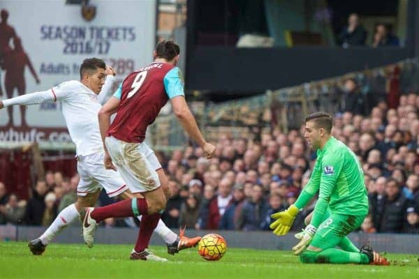 LONDON, ENGLAND - Saturday, January 2, 2016: Liverpool's Roberto Firmino sees his shot saved by West Ham United's goalkeeper Adrian San Miguel del Castillo during the Premier League match at Upton Park. (Pic by David Rawcliffe/Propaganda)
