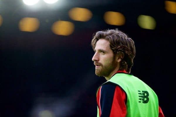 LONDON, ENGLAND - Saturday, January 2, 2016: Liverpool's substitute Joe Allen warms-up during the Premier League match against West Ham United at Upton Park. (Pic by David Rawcliffe/Propaganda)