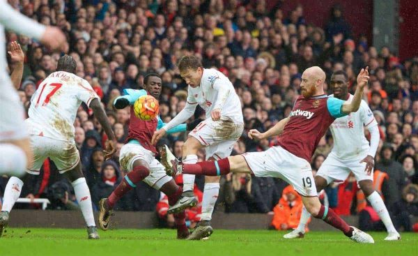 LONDON, ENGLAND - Saturday, January 2, 2016: Liverpool's Lucas Leiva in action against West Ham United's James Collins during the Premier League match at Upton Park. (Pic by David Rawcliffe/Propaganda)
