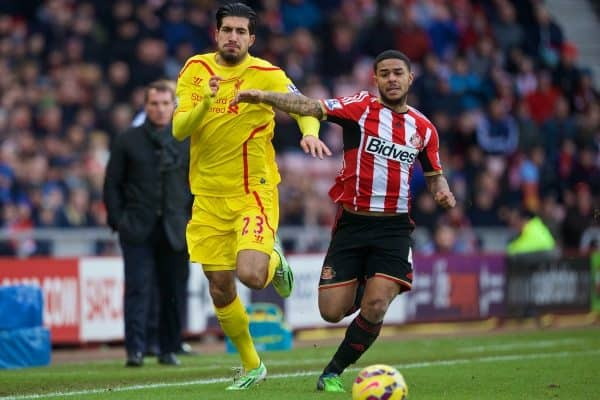 SUNDERLAND, ENGLAND - Saturday, January 10, 2015: Liverpool's Emre Can is fouled by Sunderland's Liam Bridcutt, who was shown a second yellow card and sent off, during the Premier League match at the Stadium of Light. (Pic by David Rawcliffe/Propaganda)