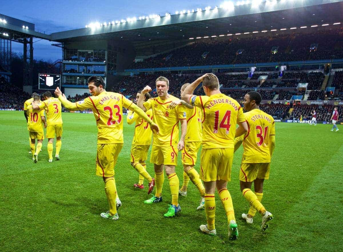 BIRMINGHAM, ENGLAND - Saturday, January 17, 2015: Liverpool's Rickie Lambert celebrates scoring the second goal against Aston Villa with the travelling supporters during the Premier League match at Villa Park. (Pic by David Rawcliffe/Propaganda)