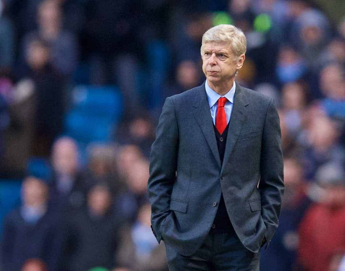 MANCHESTER, ENGLAND - Sunday, January 18, 2015: Arsenal's manager Arsene Wenger during the Premier League match against Manchester City at the City of Manchester Stadium. (Pic by David Rawcliffe/Propaganda)