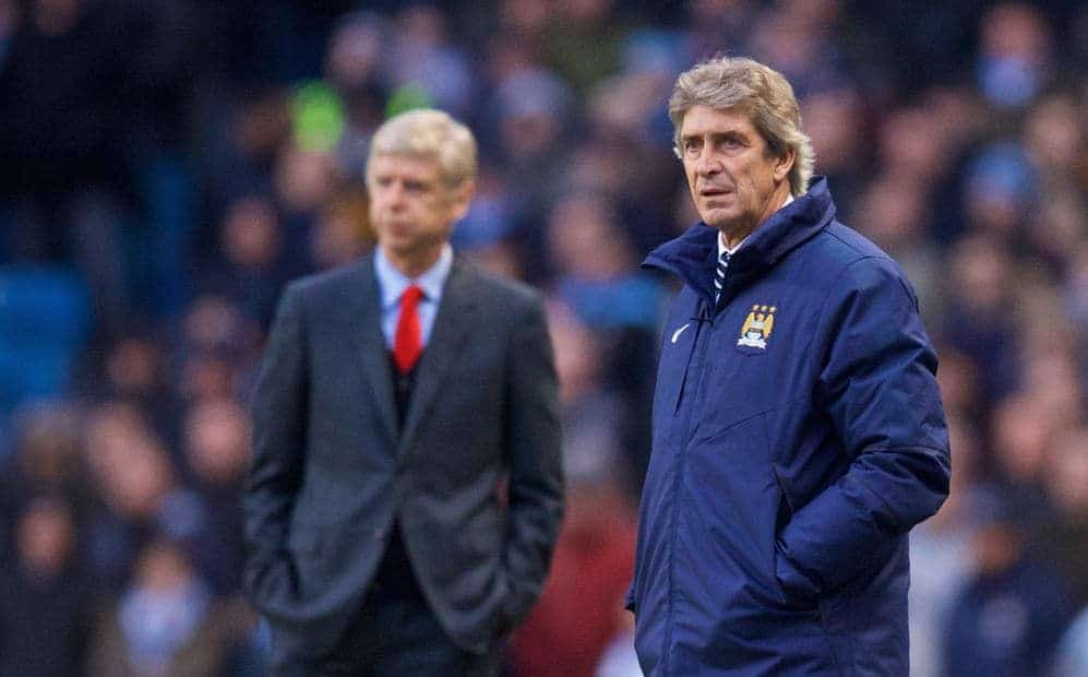 MANCHESTER, ENGLAND - Sunday, January 18, 2015: Manchester City's manager Manuel Pellegrini against Arsenal during the Premier League match at the City of Manchester Stadium. (Pic by David Rawcliffe/Propaganda)