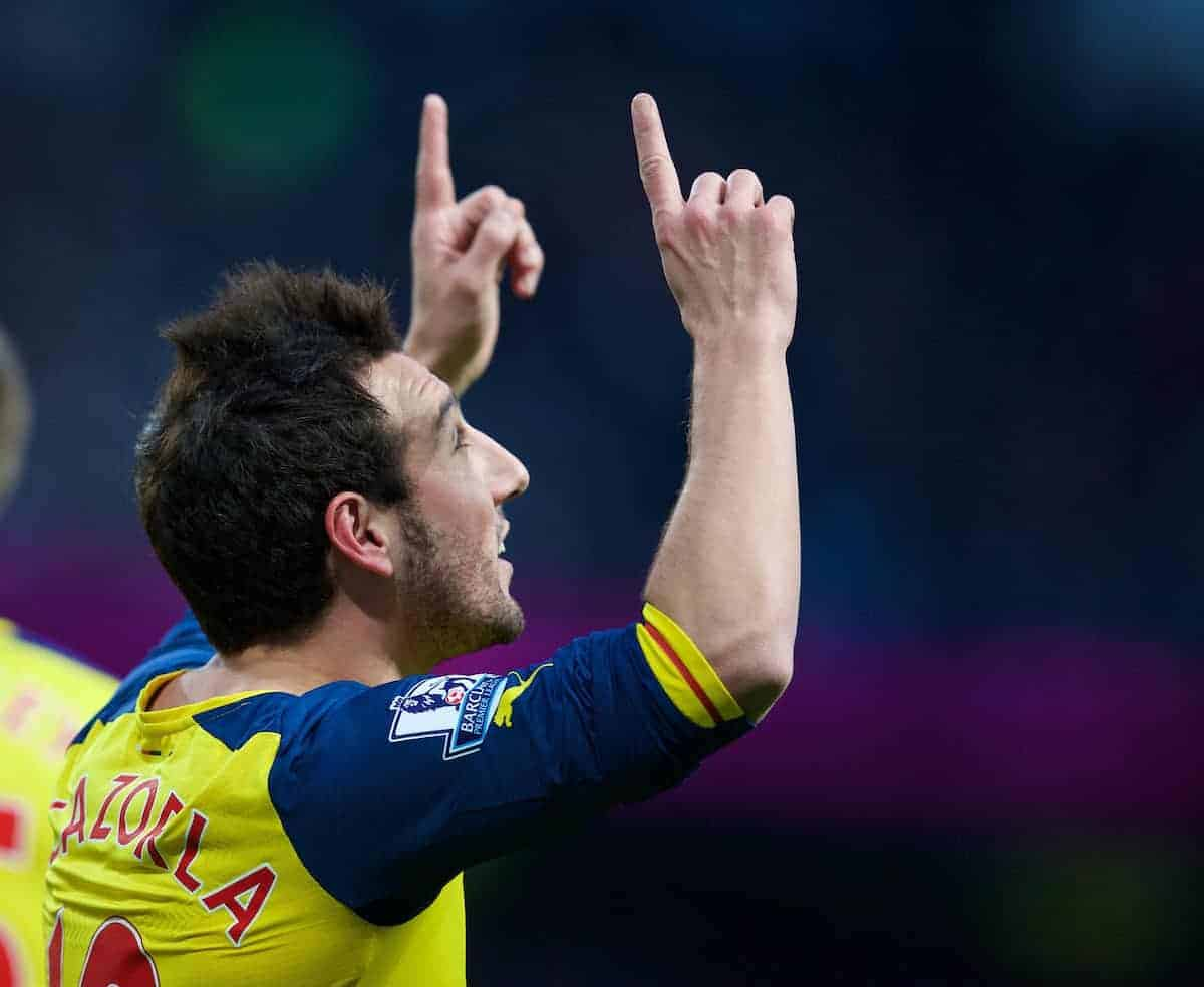MANCHESTER, ENGLAND - Sunday, January 18, 2015: Arsenal's Santi Cazorla celebrates scoring the first goal against Manchester City from the penalty spot during the Premier League match at the City of Manchester Stadium. (Pic by David Rawcliffe/Propaganda)