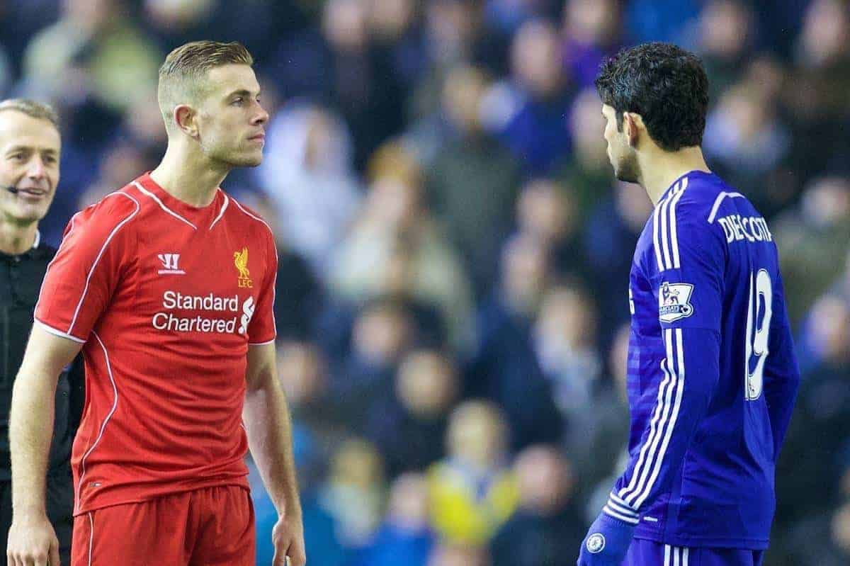 LIVERPOOL, ENGLAND - Tuesday, January 20, 2015: Liverpool's Jordan Henderson shares up to Chelsea's Diego Costa during the Football League Cup Semi-Final 1st Leg match at Anfield. (Pic by David Rawcliffe/Propaganda)