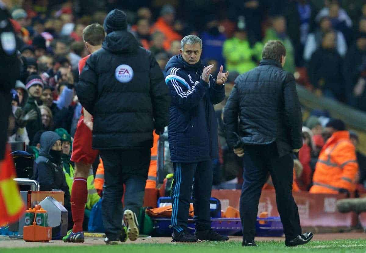 LIVERPOOL, ENGLAND - Tuesday, January 20, 2015: Chelsea's manager Jose Mourinho applauds Liverpool's captain Steven Gerrard during the Football League Cup Semi-Final 1st Leg match at Anfield. (Pic by David Rawcliffe/Propaganda)
