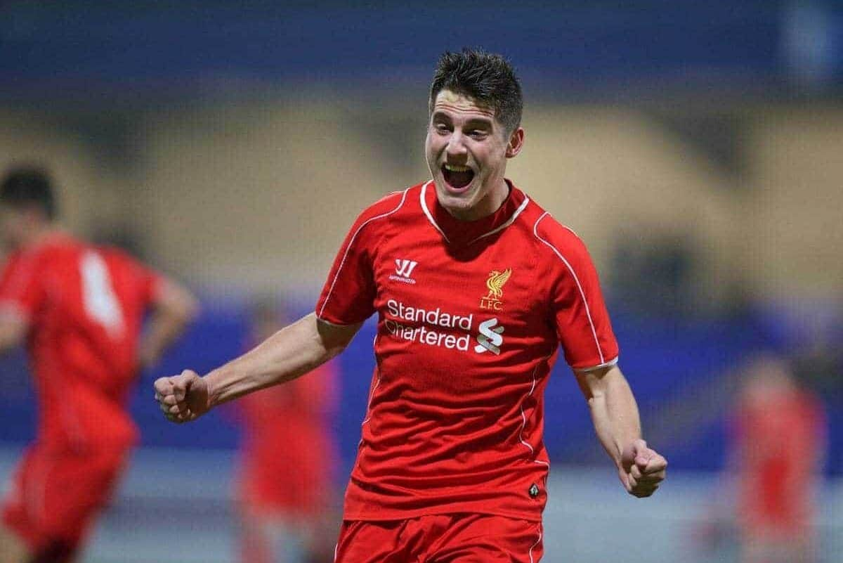 CHESTER, ENGLAND - Wednesday, January 21, 2015: Liverpool's Sergi Canos celebrates scoring the fourth goal against Derby County during the FA Youth Cup 4th Round match at the Deva Stadium. (Pic by David Rawcliffe/Propaganda)