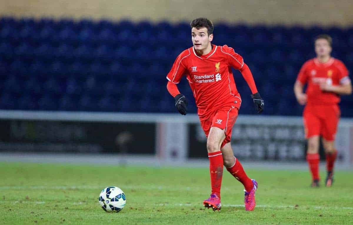 CHESTER, ENGLAND - Friday, January 30, 2015: Liverpool's Pedro Chirivella in action against Birmingham City during the FA Youth Cup 5th Round match at the Deva Stadium. (Pic by David Rawcliffe/Propaganda)
