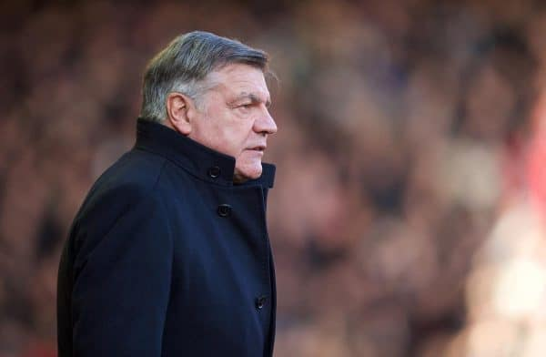 LIVERPOOL, ENGLAND - Saturday, January 31, 2015: West Ham United's manager Sam Allardyce before the Premier League match against Liverpool at Anfield. (Pic by David Rawcliffe/Propaganda)