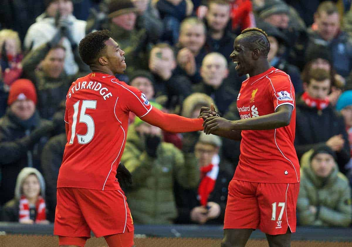 LIVERPOOL, ENGLAND - Saturday, January 31, 2015: Liverpool's Daniel Sturridge celebrates scoring the second goal against West Ham United with team-mate Mamadou Sakho during the Premier League match at Anfield. (Pic by David Rawcliffe/Propaganda)