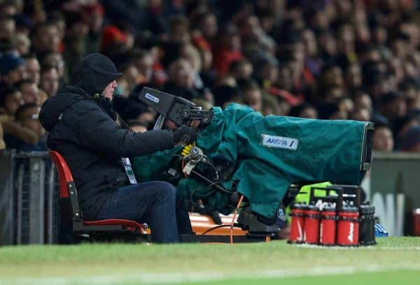 MANCHESTER, ENGLAND - Tuesday, February 3, 2015: A television camera on the pitch before the FA Cup 4th Round Replay match between Manchester United and Cambridge United at Old Trafford. (Pic by David Rawcliffe/Propaganda)