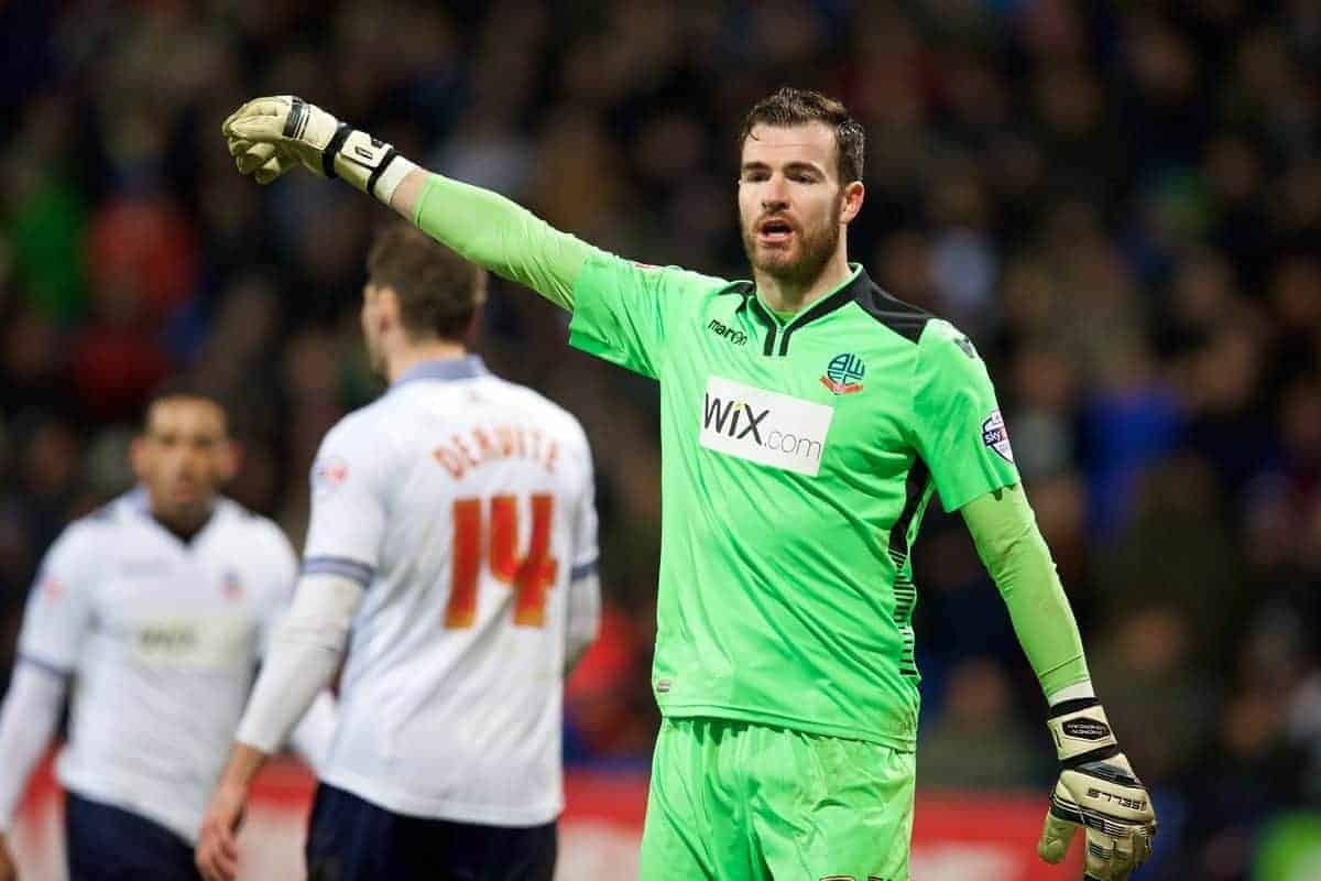 BOLTON, ENGLAND - Wednesday, February 4, 2015: Bolton Wanderers' goalkeeper Andy Lonergan during the FA Cup 4th Round Replay match against Liverpool at the Reebok Stadium. (Pic by David Rawcliffe/Propaganda)