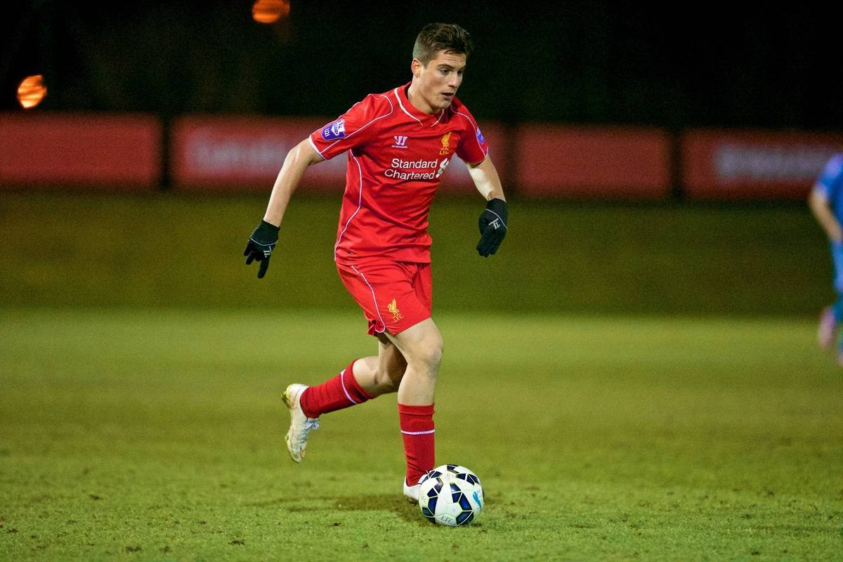 KIRKBY, ENGLAND - Monday, February 16, 2015: Liverpool's Sergi Canos in action against Sunderland during the Under 21 FA Premier League match at the Kirkby Academy. (Pic by David Rawcliffe/Propaganda)