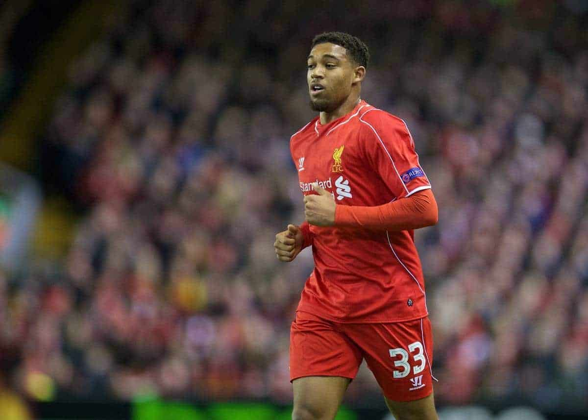 LIVERPOOL, ENGLAND - Thursday, February 19, 2015: Liverpool's Jordon Ibe in action against Besiktas JK during the UEFA Europa League Round of 32 1st Leg match at Anfield. (Pic by David Rawcliffe/Propaganda)