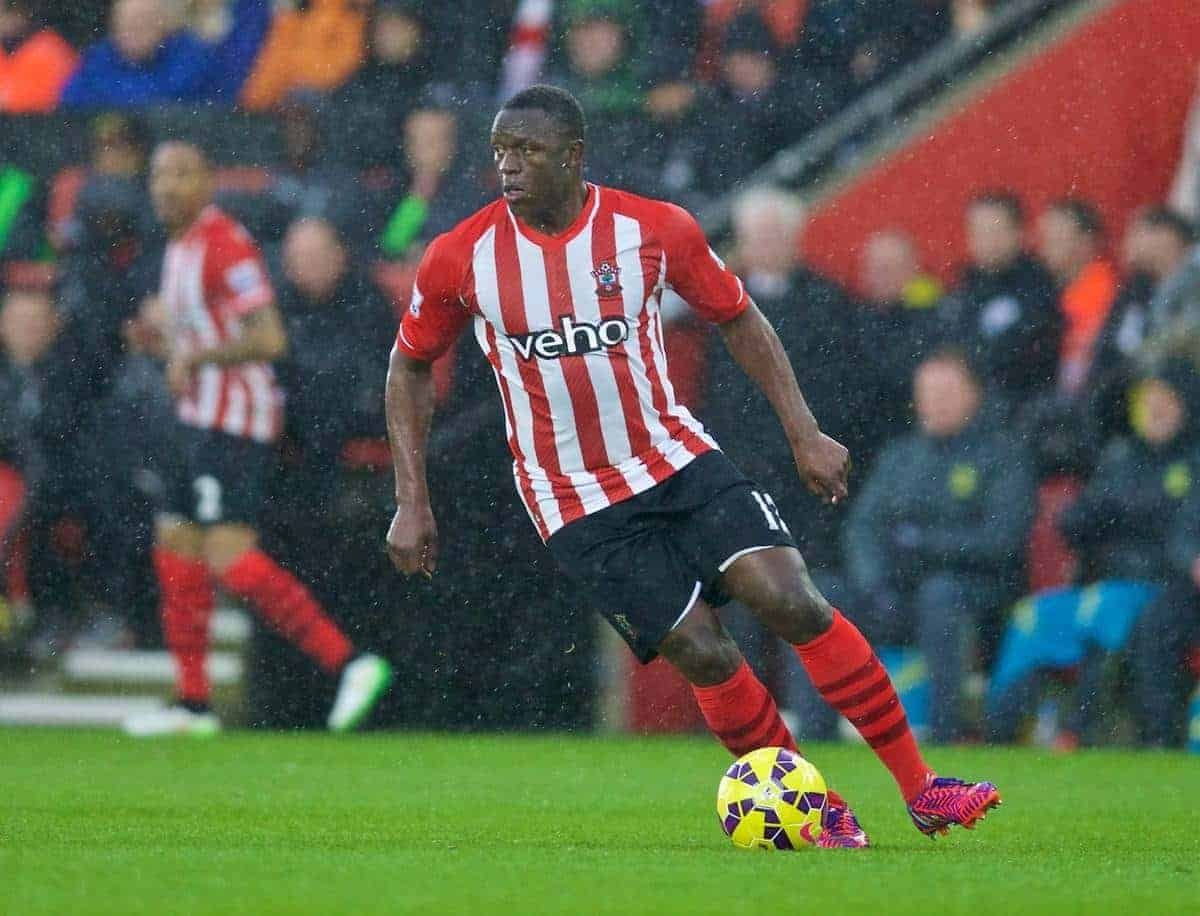 SOUTHAMPTON, ENGLAND - Sunday, February 22, 2015: Southampton's Victor Wanyama in action against Liverpool during the FA Premier League match at St Mary's Stadium. (Pic by David Rawcliffe/Propaganda)
