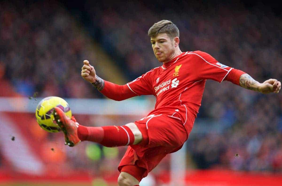LIVERPOOL, ENGLAND - Sunday, March 1, 2015: Liverpool's Alberto Moreno in action against Manchester City during the Premier League match at Anfield. (Pic by David Rawcliffe/Propaganda)