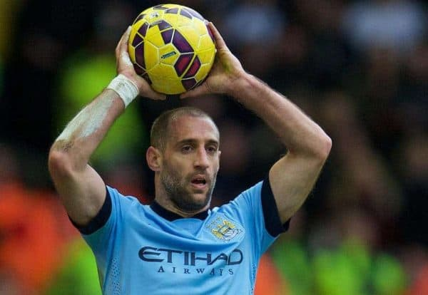LIVERPOOL, ENGLAND - Sunday, March 1, 2015: Manchester City's Pablo Zabaleta in action against Liverpool during the Premier League match at Anfield. (Pic by David Rawcliffe/Propaganda)