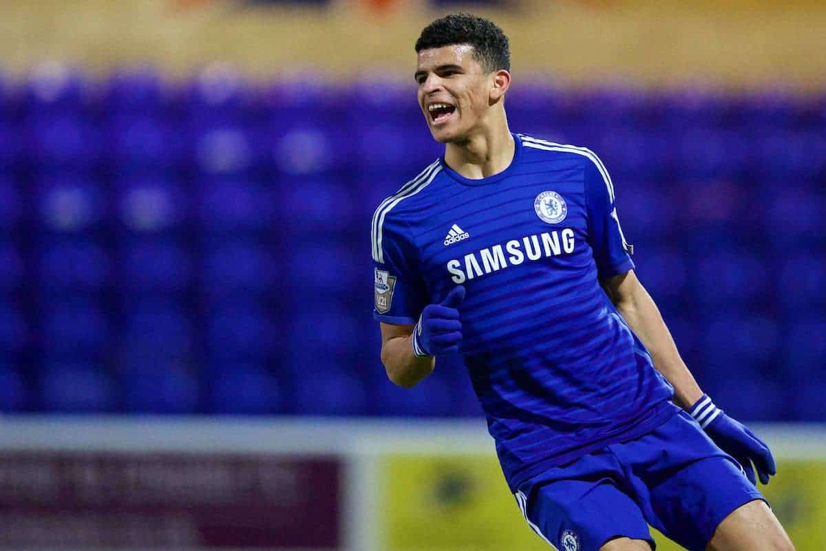 CHESTER, WALES - Monday, March 2, 2015: Chelsea's Dominic Solanke in action against Liverpool during the Under 21 FA Premier League match at Deva Stadium. (Pic by David Rawcliffe/Propaganda)