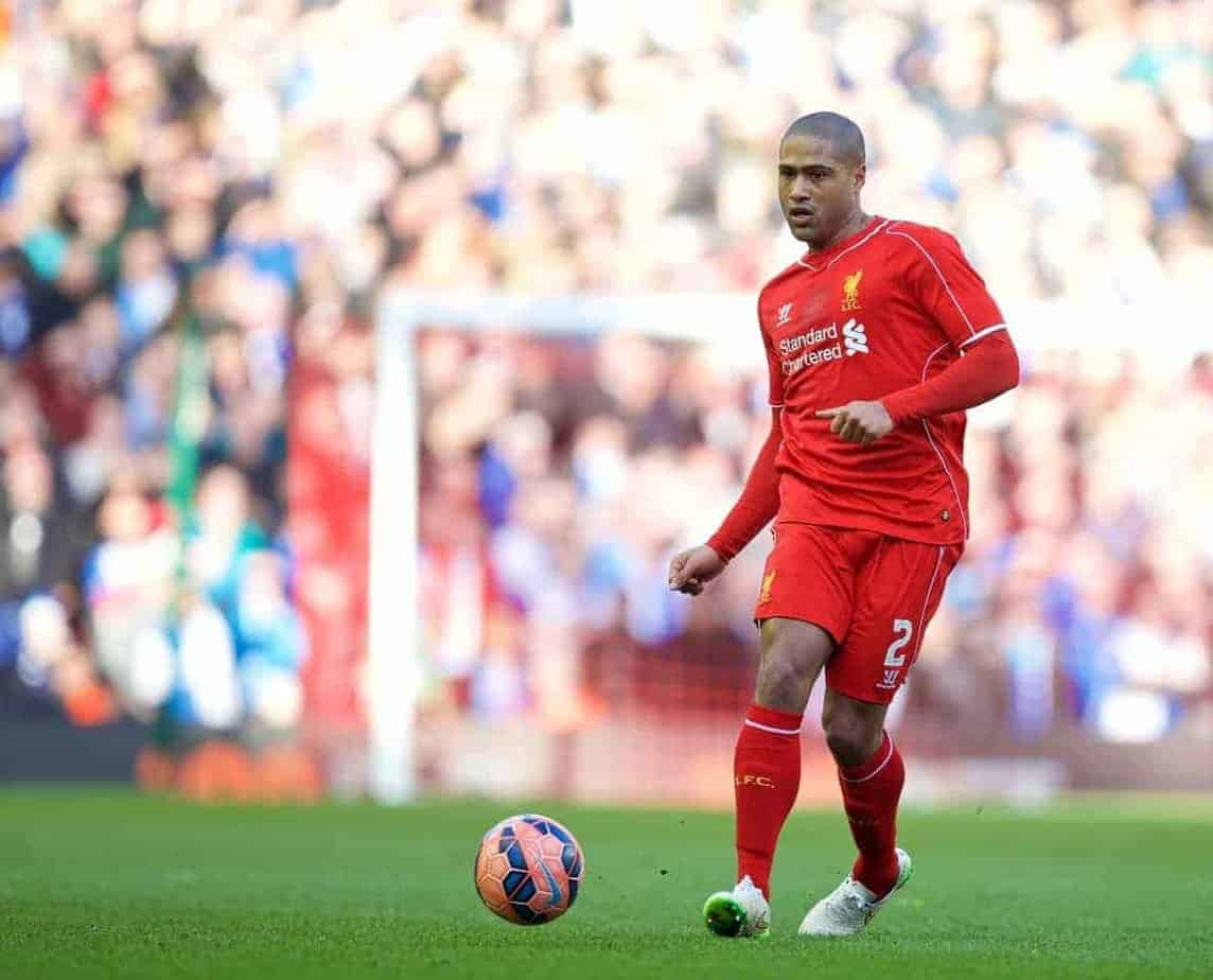 LIVERPOOL, ENGLAND - Sunday, March 8, 2015: Liverpool's Glen Johnson in action against Blackburn Rovers during the FA Cup 6th Round Quarter-Final match at Anfield. (Pic by David Rawcliffe/Propaganda)