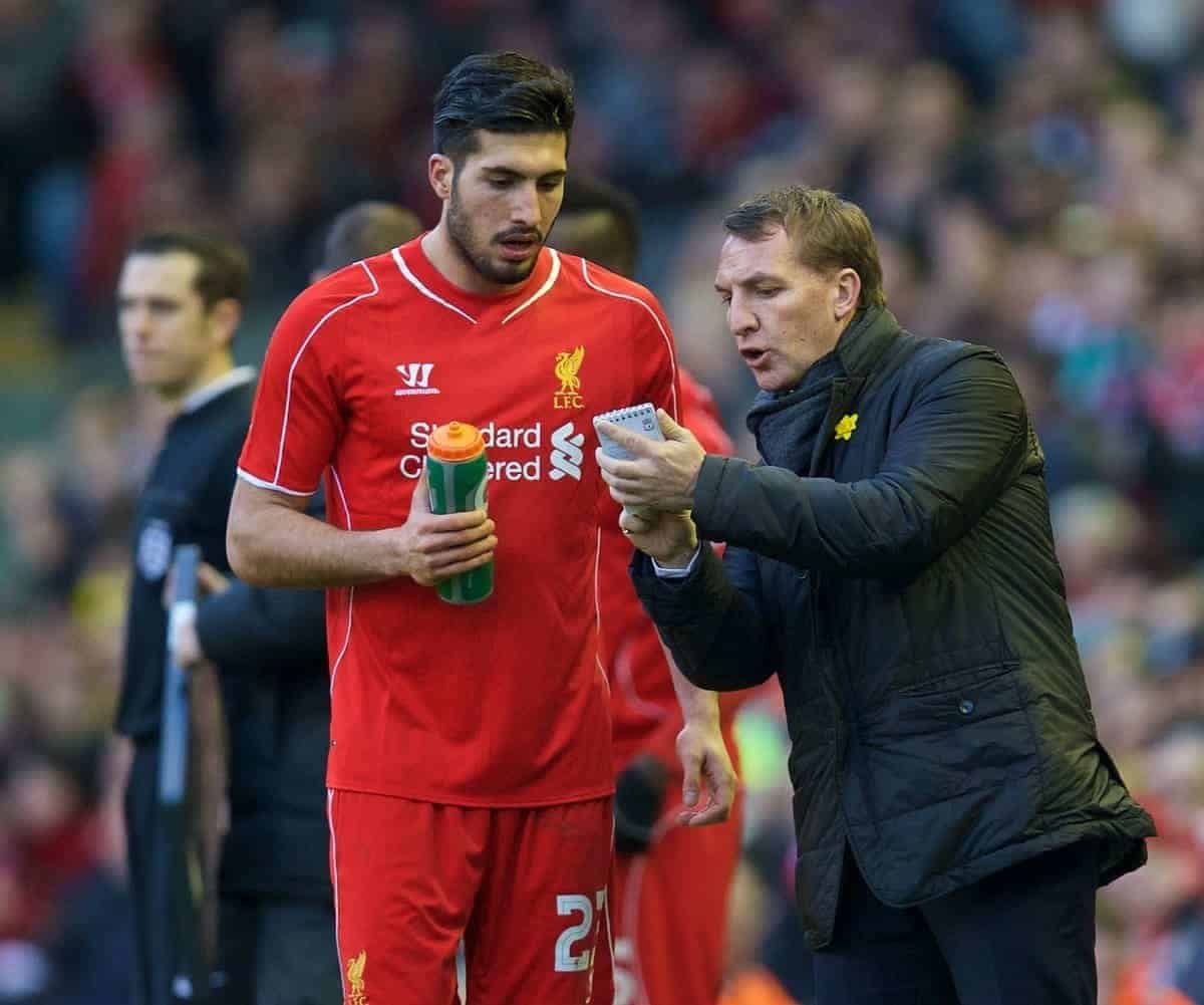LIVERPOOL, ENGLAND - Sunday, March 8, 2015: Liverpool's manager Brendan Rodgers gives instructions to Emre Can during the FA Cup 6th Round Quarter-Final match against Blackburn Rovers at Anfield. (Pic by David Rawcliffe/Propaganda)