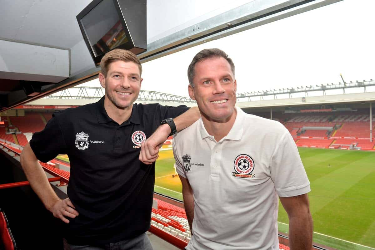 LIVERPOOL, ENGLAND - Thursday, March 12, 2015: Liverpool's Steven Gerrard and Jamie Carragher at the press conference to announce plans for an All-Star Charity friendly match to be played at Anfield on Sunday March 29th in aid of the Liverpool FC Foundation. (Pic by Paul Currie/Propaganda)