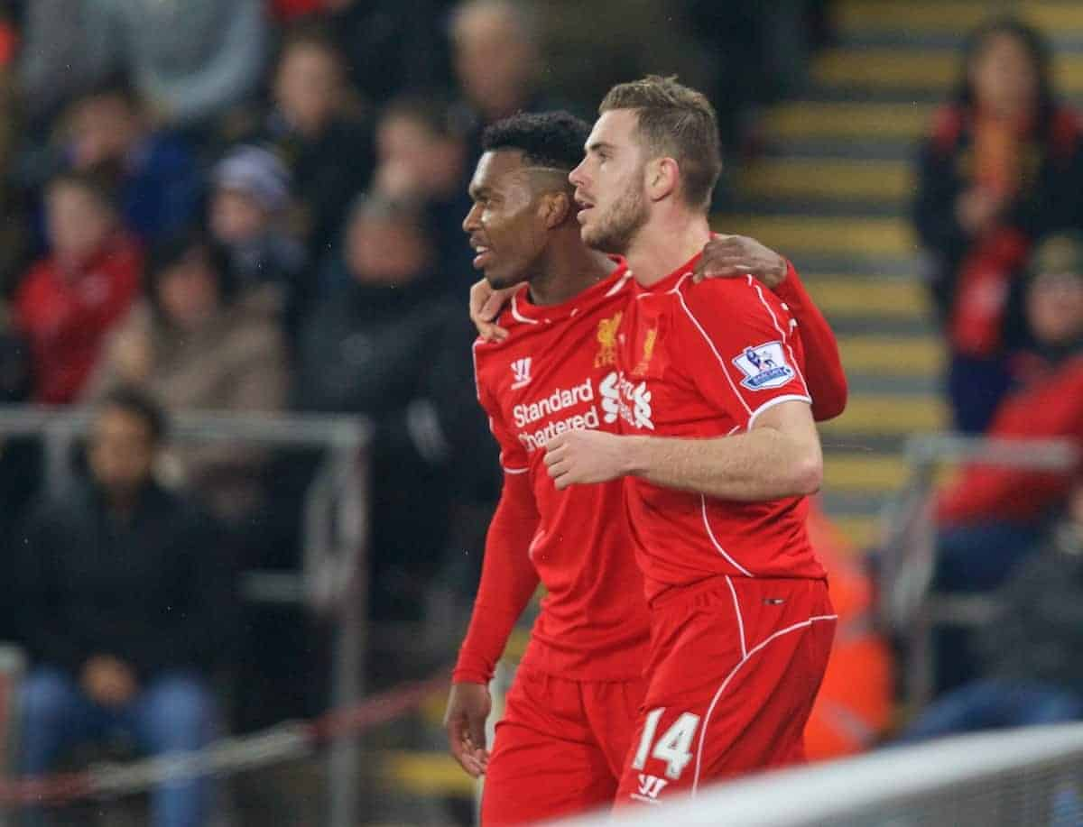 SWANSEA, ENGLAND - Monday, March 16, 2015: Liverpool's captain Jordan Henderson celebrates scoring the first goal against Swansea City with team-mate Daniel Sturridge during the Premier League match at the Liberty Stadium. (Pic by David Rawcliffe/Propaganda)