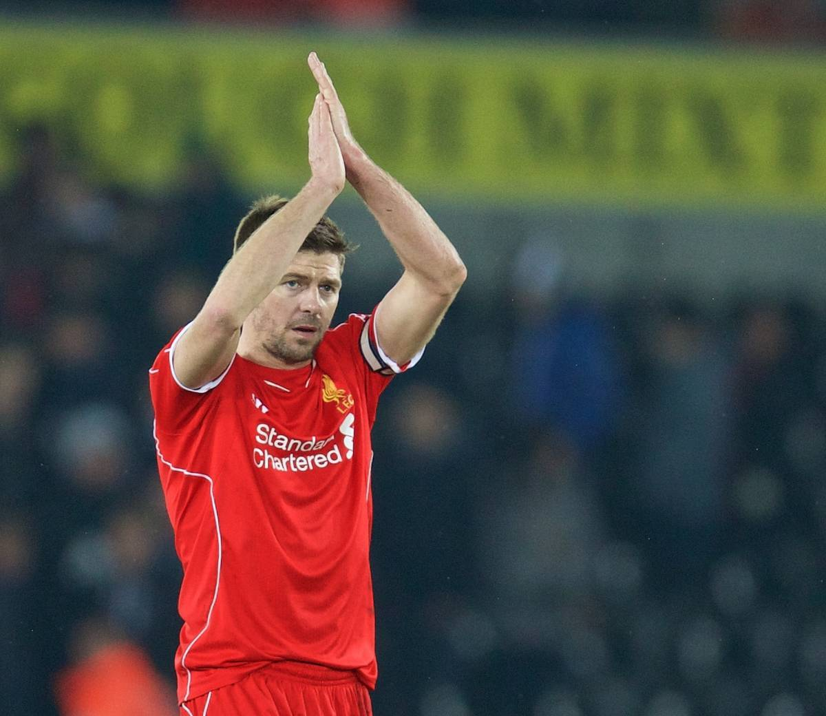 SWANSEA, ENGLAND - Monday, March 16, 2015: Liverpool's captain Steven Gerrard after the 1-0 victory over Swansea City during the Premier League match at the Liberty Stadium. (Pic by David Rawcliffe/Propaganda)