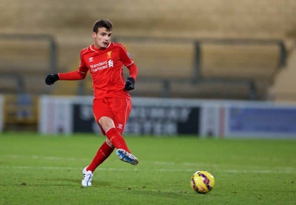 CHESTER, WALES - Friday, March 20, 2015: Liverpool's Pedro Chirivella in action against West Ham United during the Under 21 FA Premier League match at Deva Stadium. (Pic by David Rawcliffe/Propaganda)