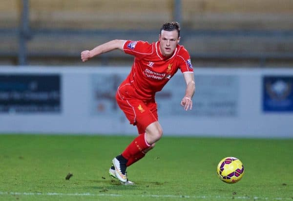 CHESTER, WALES - Friday, March 20, 2015: Liverpool's Brad Smith in action against West Ham United during the Under 21 FA Premier League match at Deva Stadium. (Pic by David Rawcliffe/Propaganda)