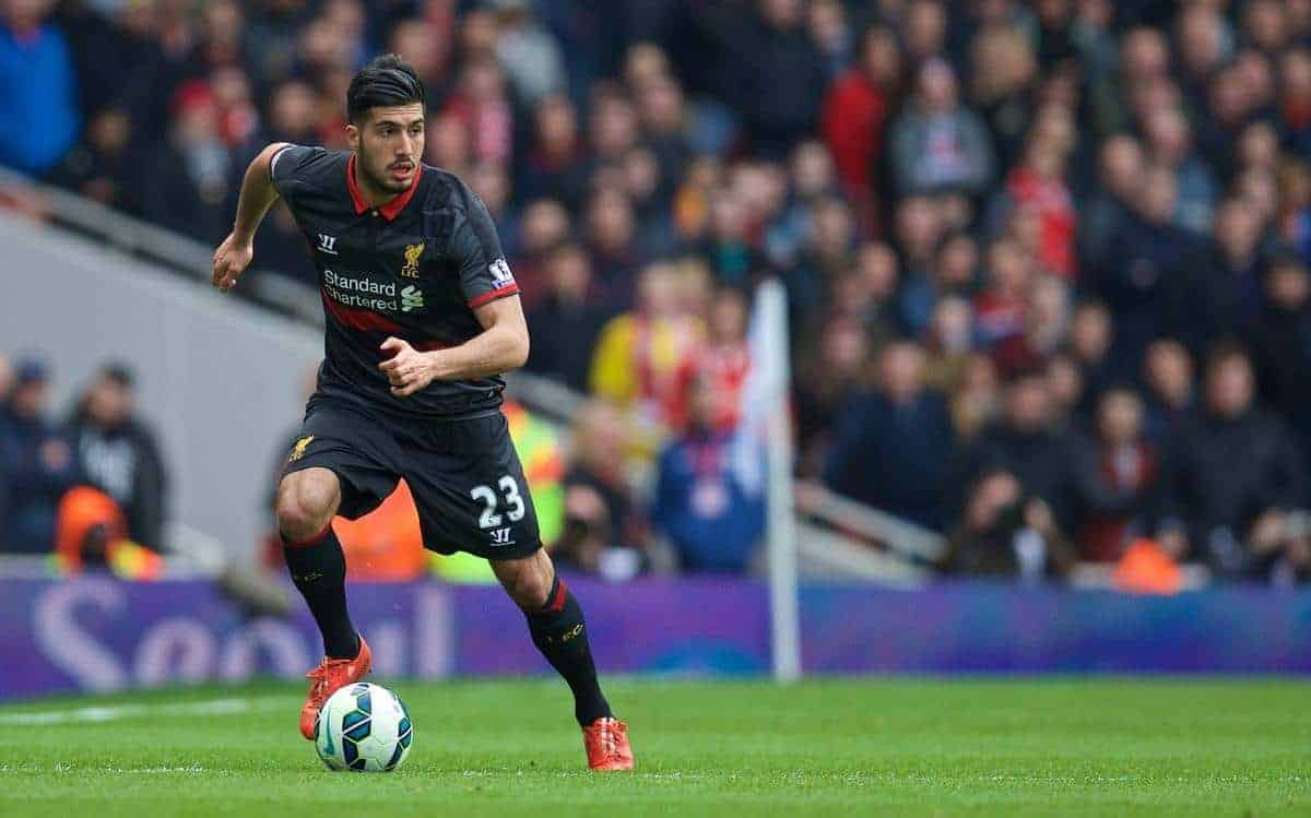 LONDON, ENGLAND - Saturday, April 4, 2015: Liverpool's Emre Can in action against Arsenal during the Premier League match at the Emirates Stadium. (Pic by Chris Brunskill/Propaganda)