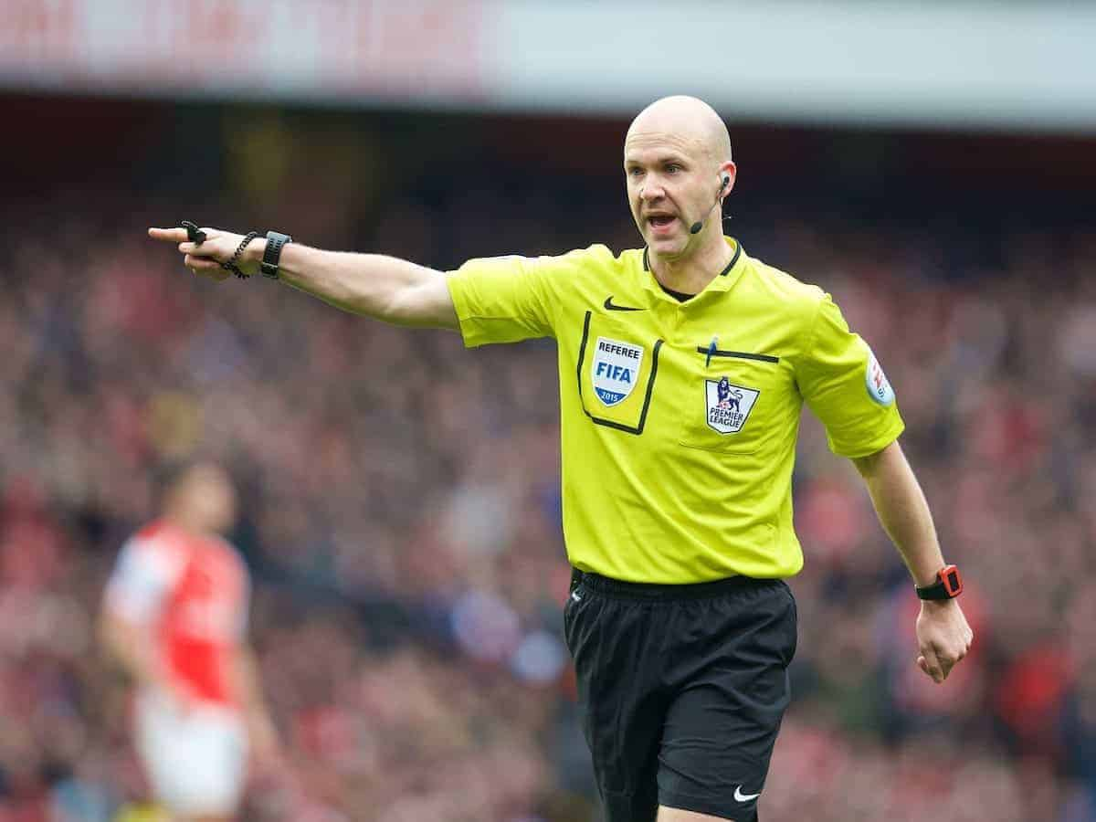 LONDON, ENGLAND - Saturday, April 4, 2015: Referee Anthony Taylor awards Liverpool a penalty against Arsenal during the Premier League match at the Emirates Stadium. (Pic by David Rawcliffe/Propaganda)