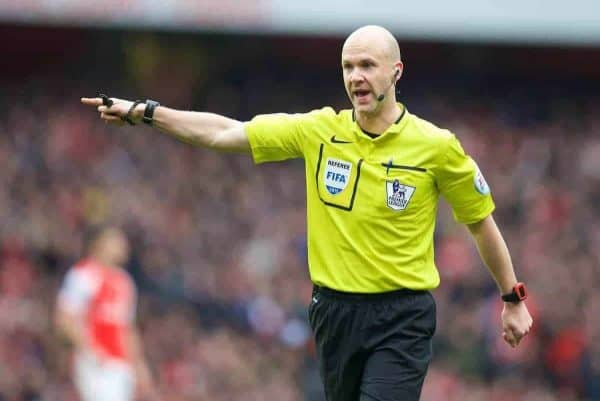 Referee Anthony Taylor awards Liverpool a penalty against Arsenal during the Premier League match at the Emirates Stadium. (Pic by David Rawcliffe/Propaganda)