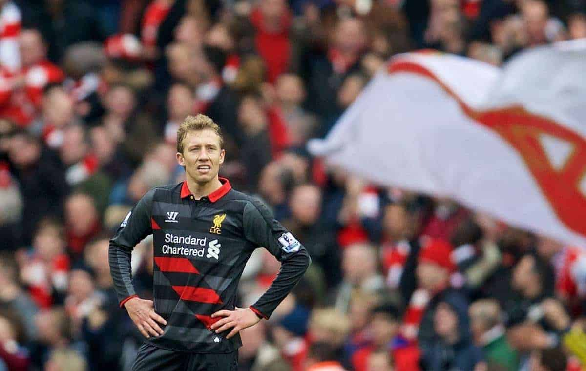 LONDON, ENGLAND - Saturday, April 4, 2015: Liverpool's Lucas Leiva looks dejected after Arsenal score the fourth goal during the Premier League match at the Emirates Stadium. (Pic by David Rawcliffe/Propaganda)