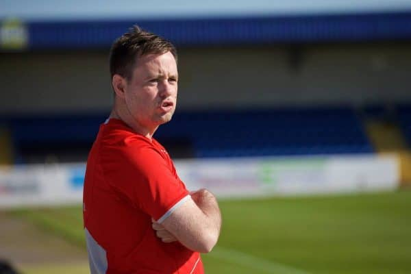 CHESTER, WALES - Tuesday, April 7, 2015: Liverpool's manager Michael Beale during the Under 21 FA Premier League match against Fulham at Deva Stadium. (Pic by David Rawcliffe/Propaganda)