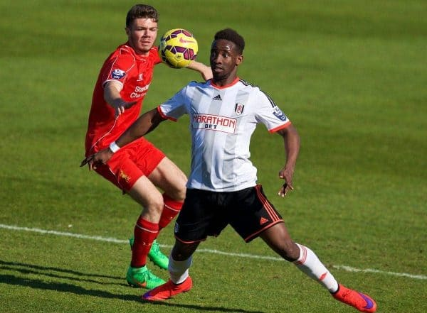 CHESTER, WALES - Tuesday, April 7, 2015: Fulham's Moussa Dembele in action against Liverpool during the Under 21 FA Premier League match at Deva Stadium. (Pic by David Rawcliffe/Propaganda)