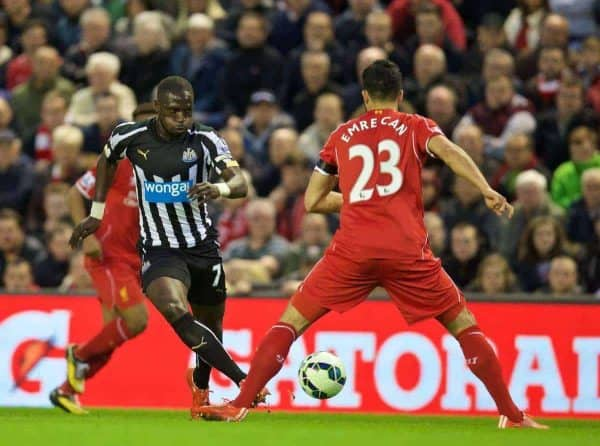 LIVERPOOL, ENGLAND - Monday, April 13, 2015: Newcastle United's Moussa Sissoko in action against Liverpool during the Premier League match at Anfield. (Pic by David Rawcliffe/Propaganda)