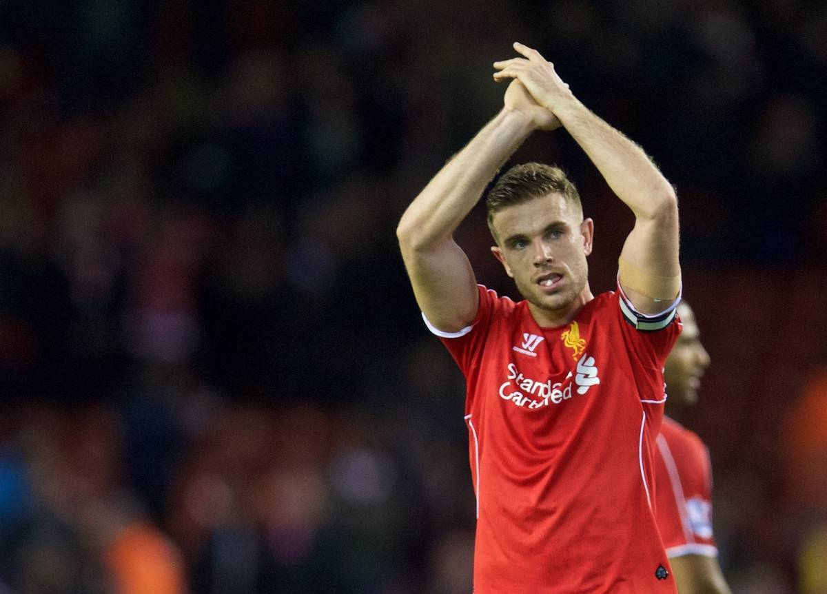 LIVERPOOL, ENGLAND - Monday, April 13, 2015: Liverpool's captain Jordan Henderson applauds the supporters after the Premier League match against Newcastle United at Anfield. (Pic by David Rawcliffe/Propaganda)