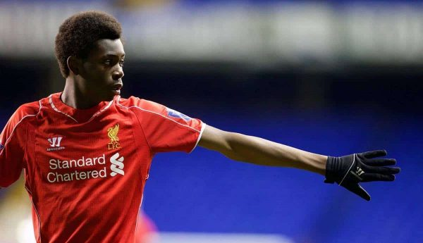 LONDON, ENGLAND - Friday, April 17, 2015: Liverpool's Ovie Ejaria in action against Tottenham Hotspur during the Under 21 FA Premier League match at White Hart Lane. (Pic by David Rawcliffe/Propaganda)