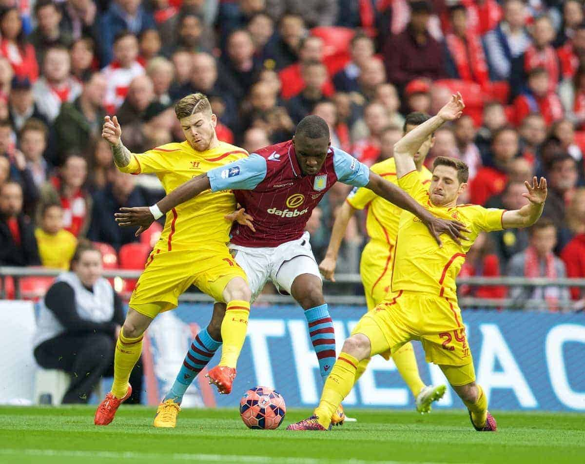 LONDON, ENGLAND - Sunday, April 19, 2015: Liverpool's Alberto Moreno and Joe Allen tackle Aston Villa's Christian Benteke during the FA Cup Semi-Final match at Wembley Stadium. (Pic by David Rawcliffe/Propaganda)
