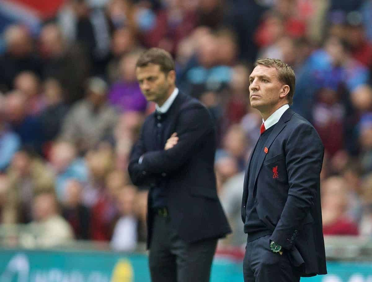 LONDON, ENGLAND - Sunday, April 19, 2015: Liverpool's manager Brendan Rodgers and Aston Villa's manager Tim Sherwood during the FA Cup Semi-Final match at Wembley Stadium. (Pic by David Rawcliffe/Propaganda)
