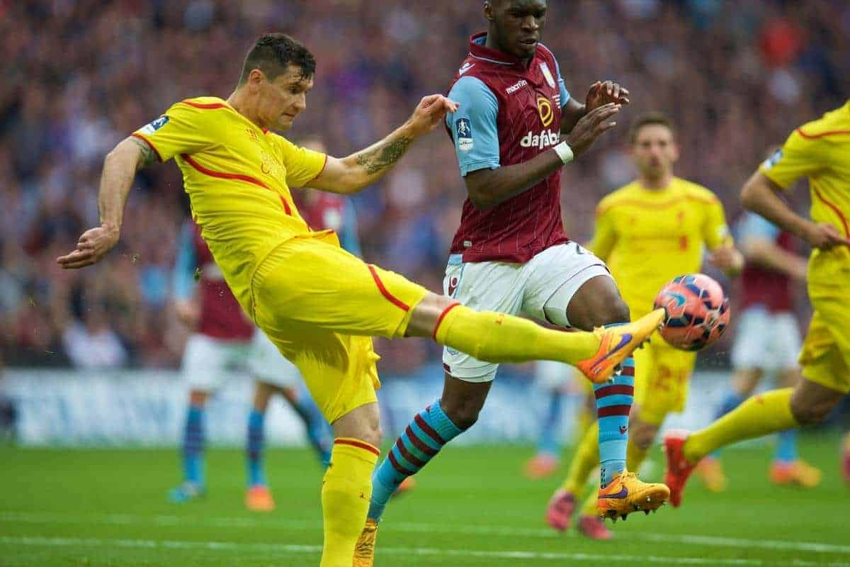 LONDON, ENGLAND - Sunday, April 19, 2015: Liverpool's Dejan Lovren in action against Aston Villa's Christian Benteke during the FA Cup Semi-Final match at Wembley Stadium. (Pic by David Rawcliffe/Propaganda)