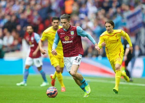 Aston Villa's Jack Grealish in action against Liverpool during the FA Cup Semi-Final match at Wembley Stadium. (Pic by David Rawcliffe/Propaganda)