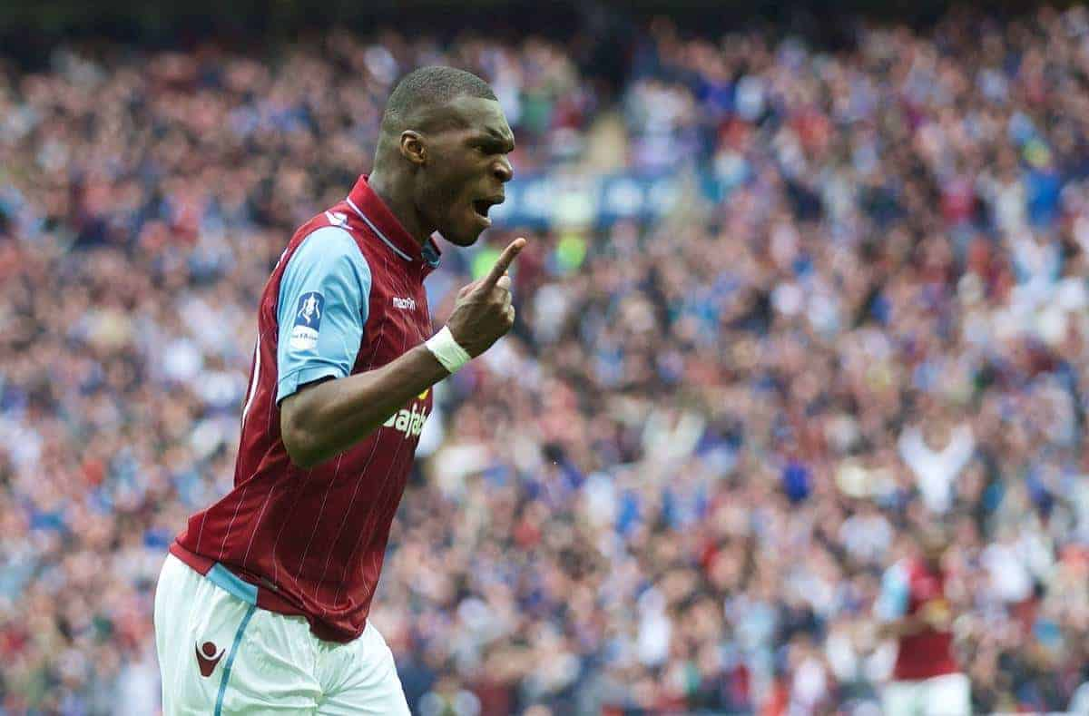 Aston Villa's Christian Benteke celebrates scoring the first equalising goal against Liverpool during the FA Cup Semi-Final match at Wembley Stadium. (Pic by David Rawcliffe/Propaganda)