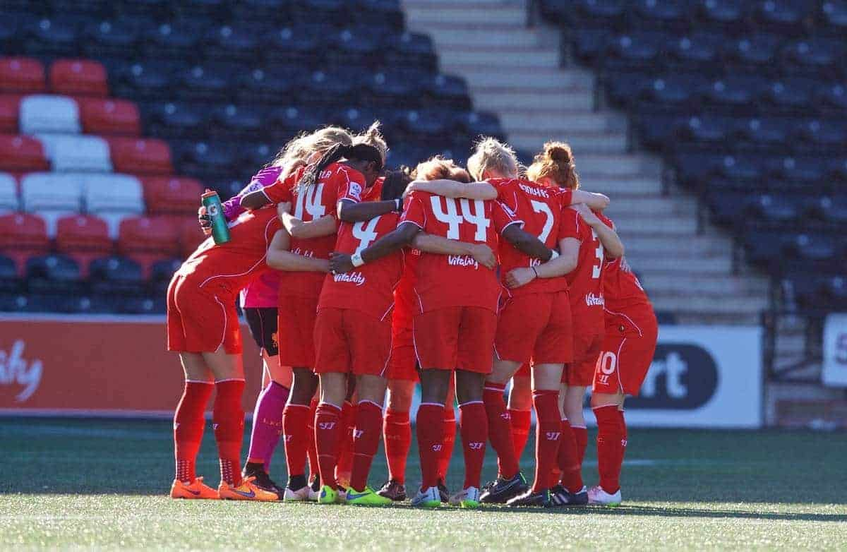 WIDNES, ENGLAND - Sunday, April 26, 2015: Liverpool players before the FA Women's Super League match against Manchester City at the Halton Stadium. (Pic by David Rawcliffe/Propaganda)